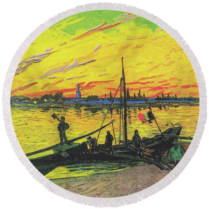 Van Gogh Round Beach Towel featuring the painting Coal Barges by Vincent van Gogh