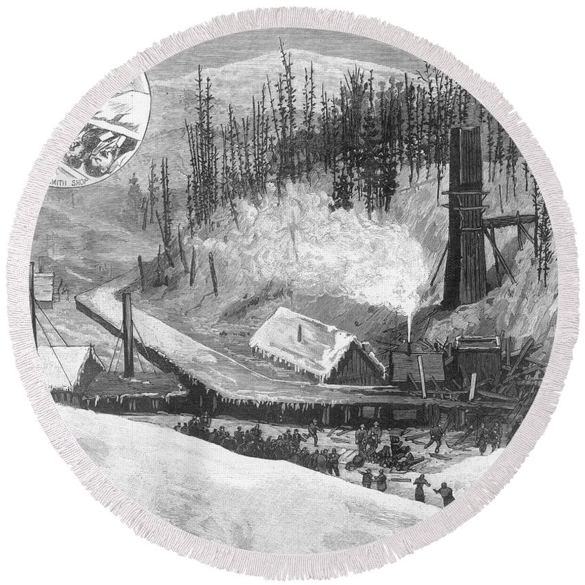 1884 Round Beach Towel featuring the photograph Coal Mine Explosion, 1884 by Granger