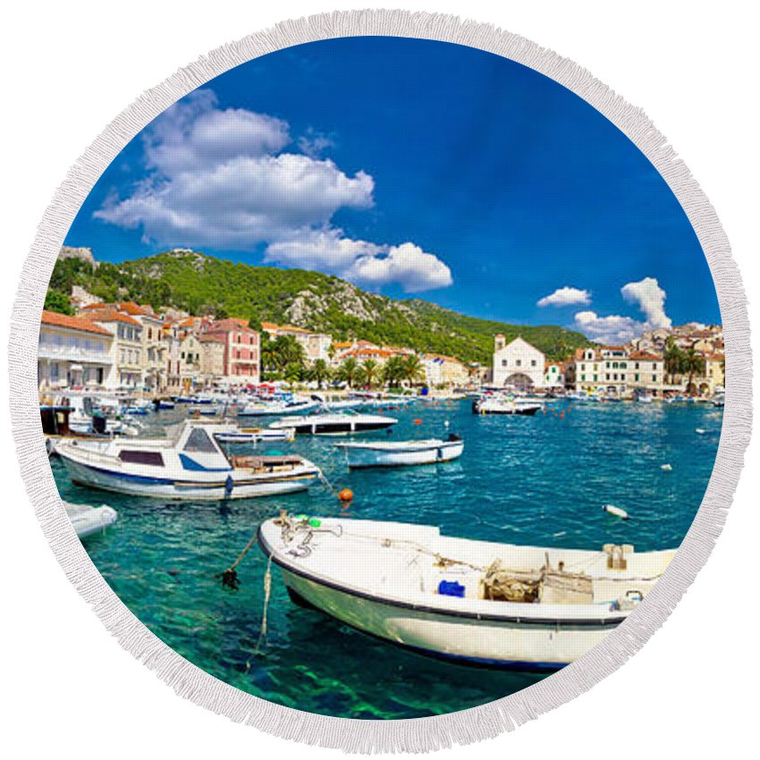 Hvar Round Beach Towel featuring the photograph Coastal Town Of Hvar Waterfront Panorama by Brch Photography