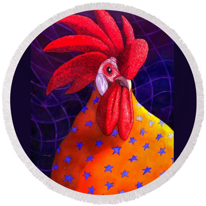 Rooster Round Beach Towel featuring the painting Cock A Doodle Dude by Catherine G McElroy