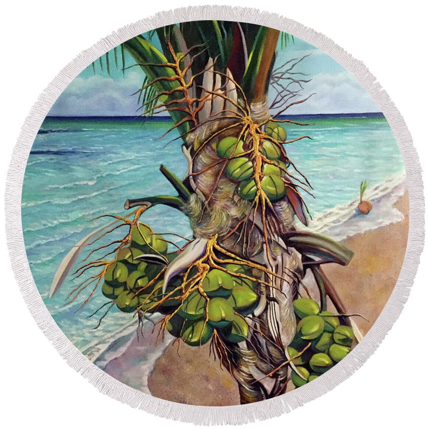 Coconuts Round Beach Towel featuring the painting Coconuts on beach by Jose Manuel Abraham