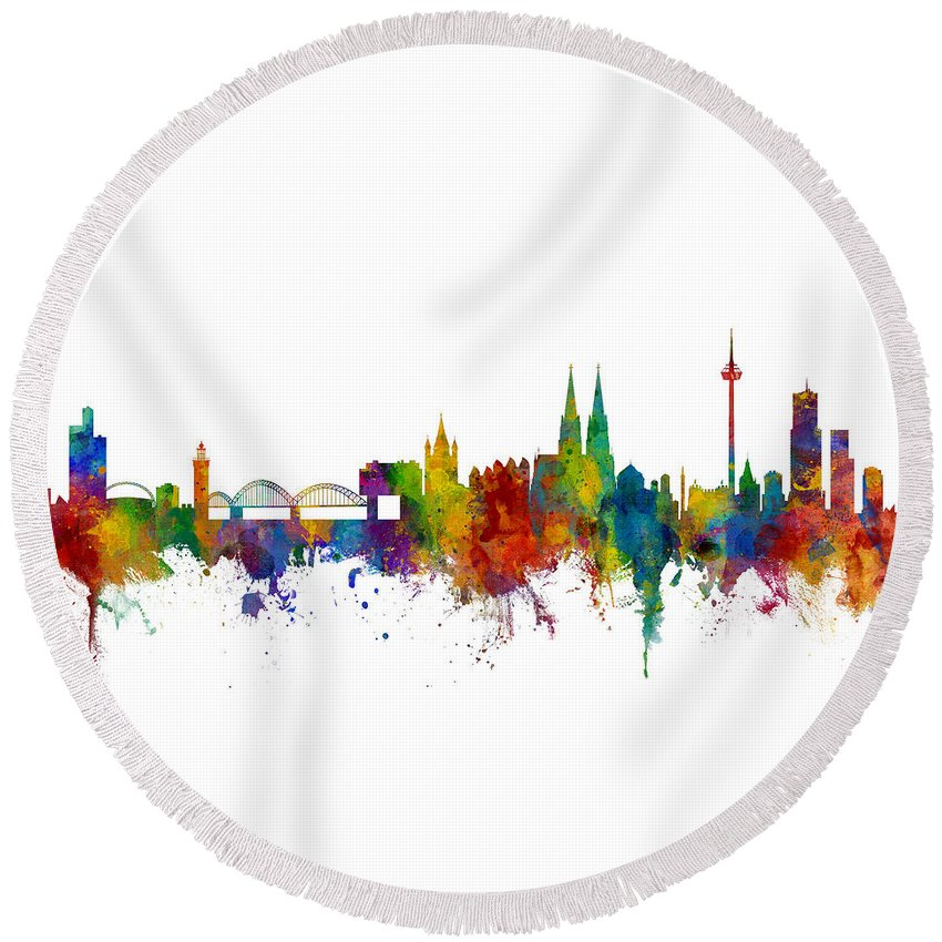 Cologne Round Beach Towel featuring the digital art Cologne Germany Skyline by Michael Tompsett