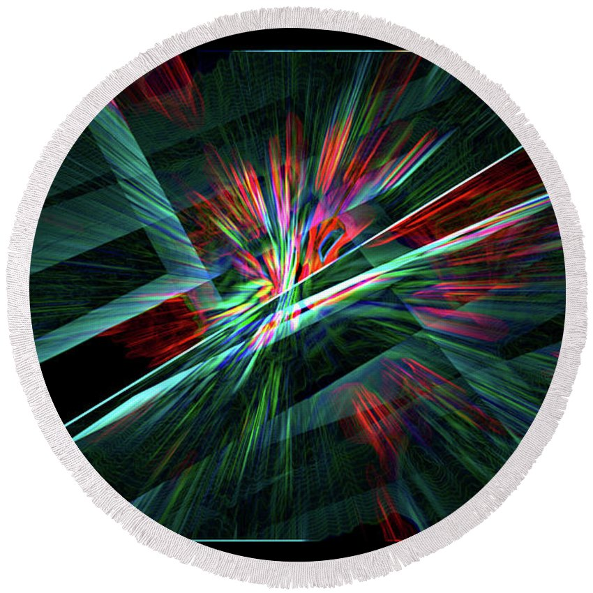 Abstract Round Beach Towel featuring the digital art Color Burst by Chris Brannen