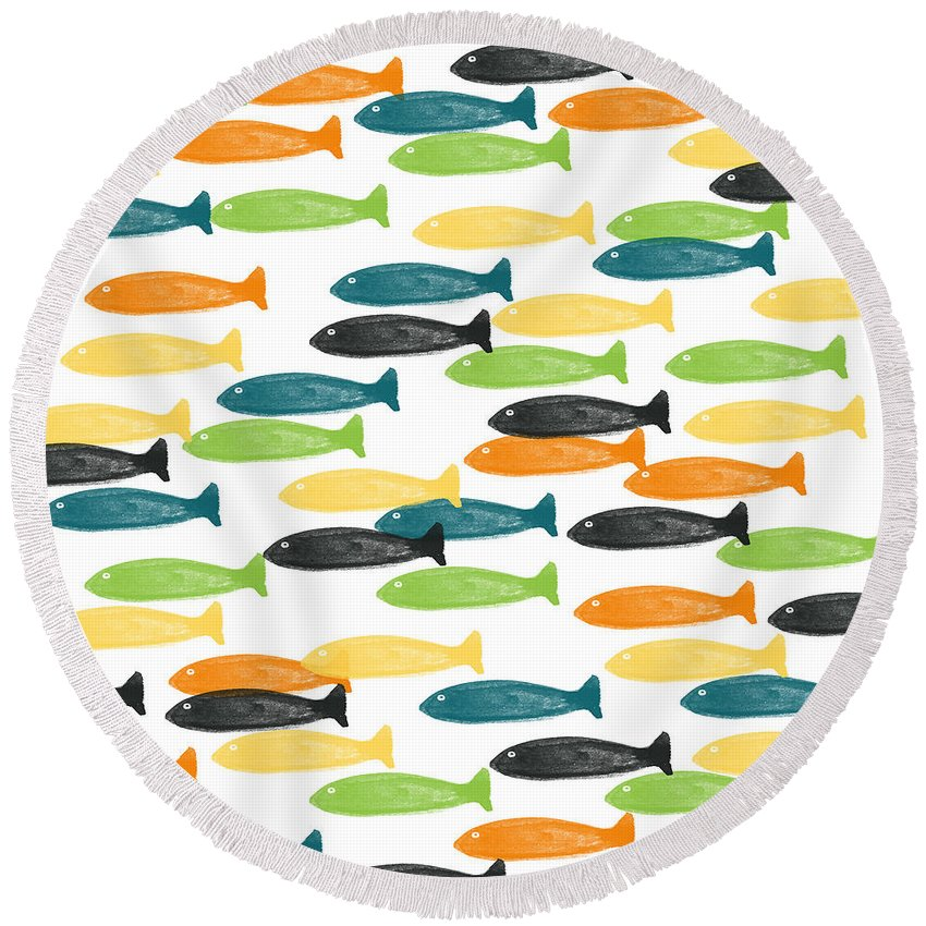 Fish Pond Round Beach Towels