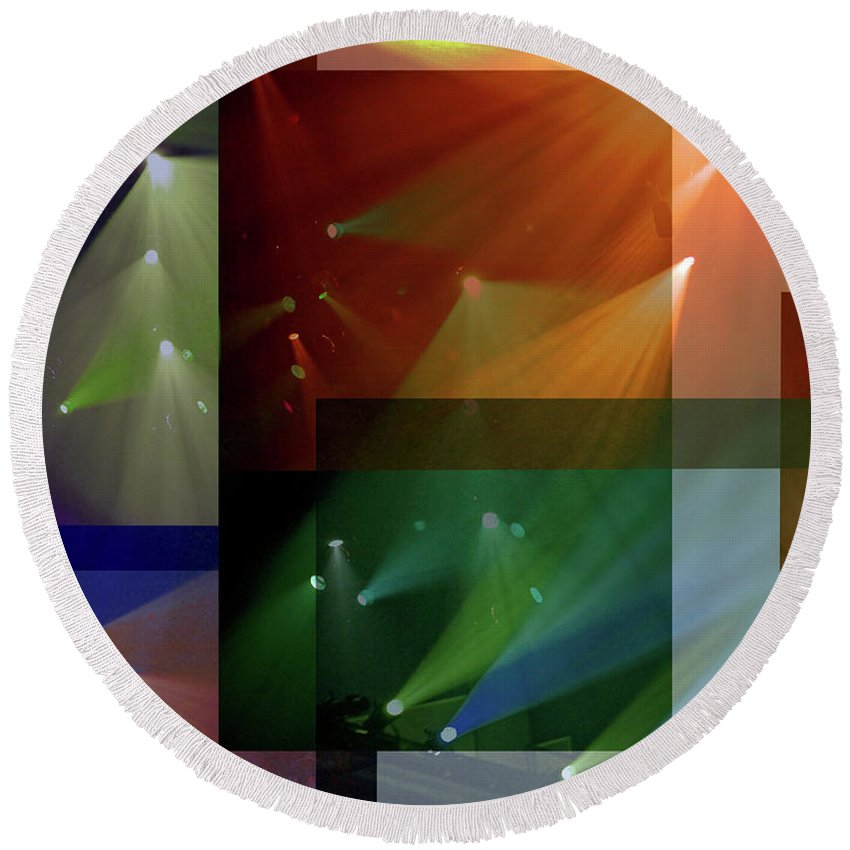 Coloured Lights Ii Round Beach Towel featuring the photograph Coloured Lights II by Robert Meanor