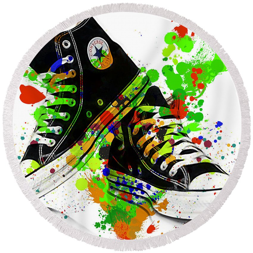 Converse Round Beach Towel featuring the mixed media Converse All Stars by Marvin Blaine