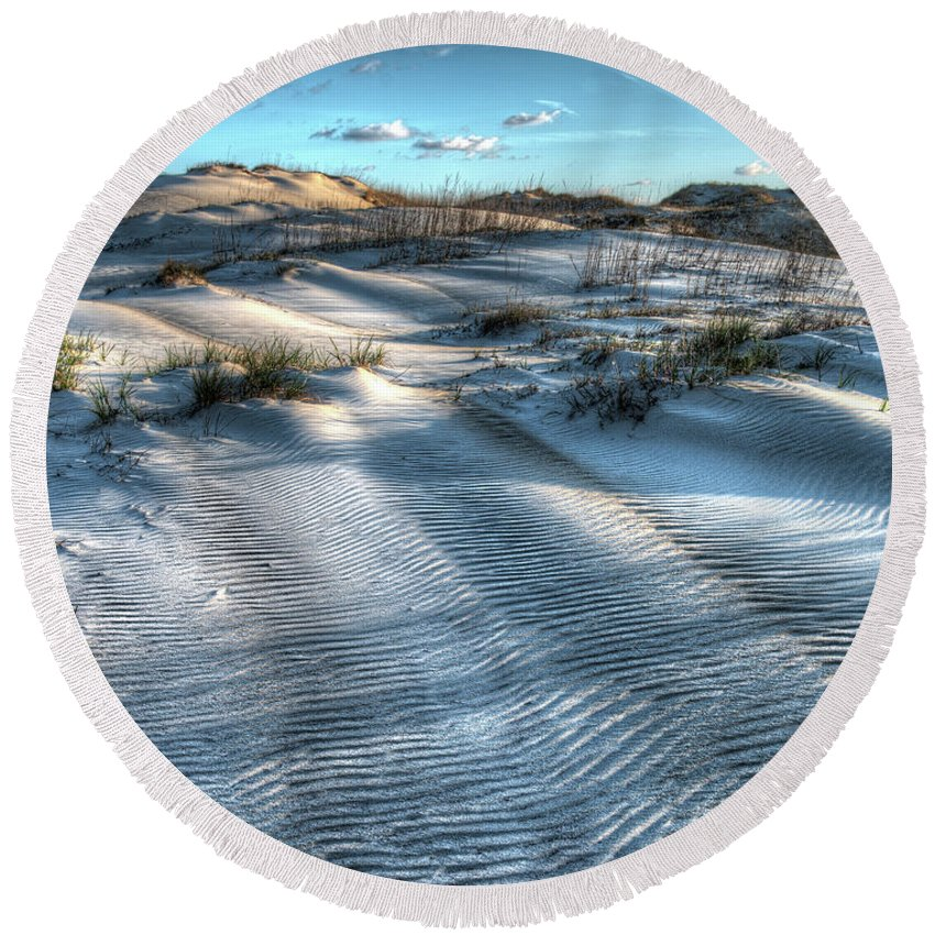 Currituck Beach Round Beach Towel featuring the photograph Coquina Beach, Cape Hatteras, North Carolina by Greg Hager