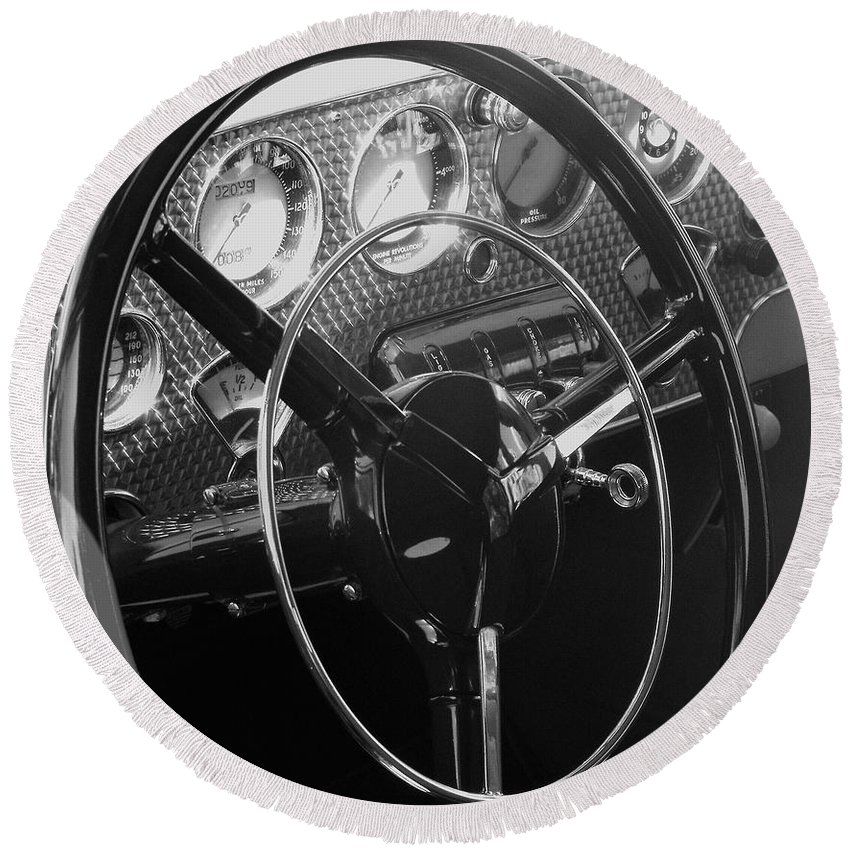 Cord Round Beach Towel featuring the photograph Cord Phaeton Dashboard by Neil Zimmerman