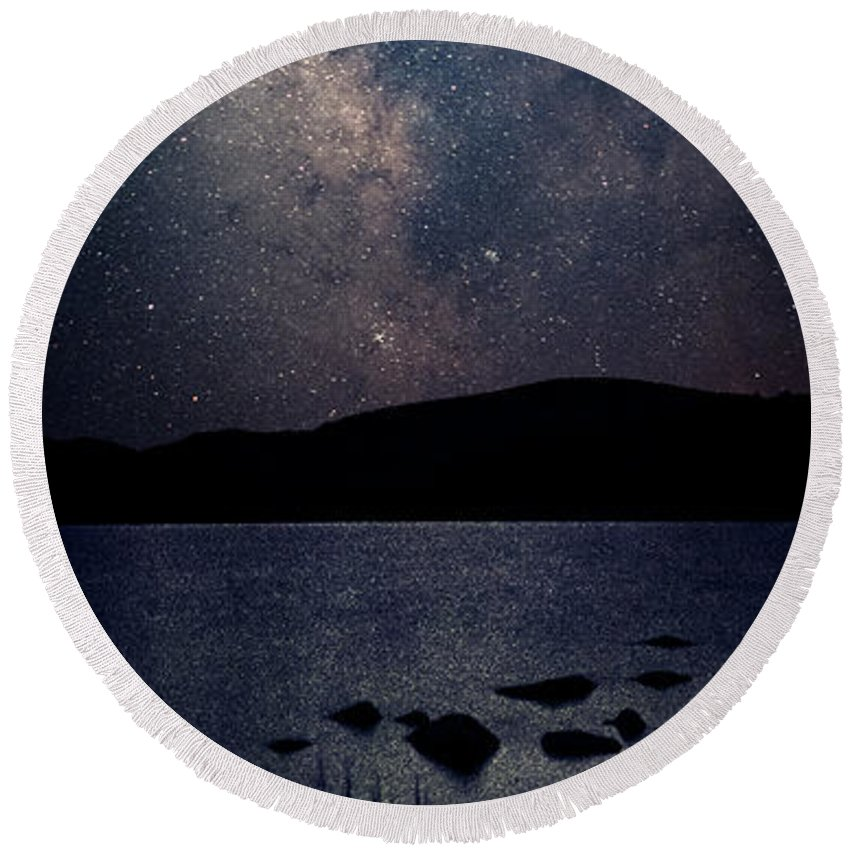 Maine Round Beach Towel featuring the photograph Cosmic Fantasy by Robert Fawcett