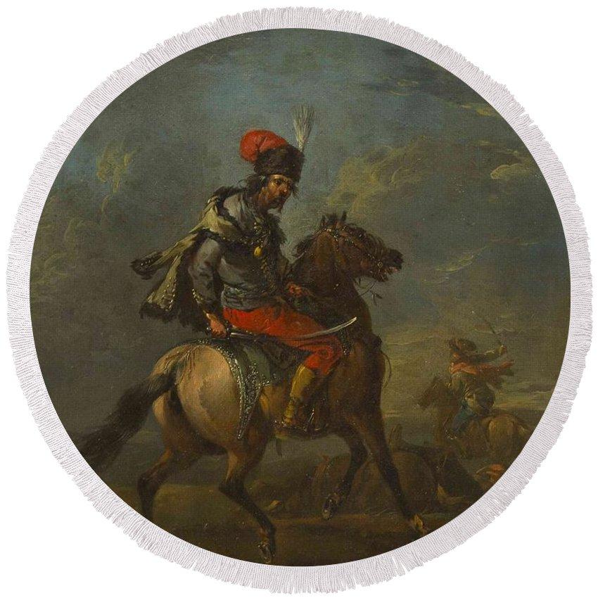 Manner Of Francesco Giuseppe Casanova(italian Round Beach Towel featuring the painting Cossack On Horseback by MotionAge Designs