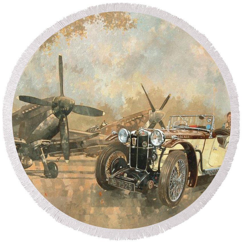 Vehicle; Airplane; Aeroplane; Plane; Military; Airforce; Vintage Car; Planes; Aeroplanes; Airplanes; Classic Cars; Auto; Spitfire Round Beach Towel featuring the painting Cream Cracker Mg 4 Spitfires by Peter Miller