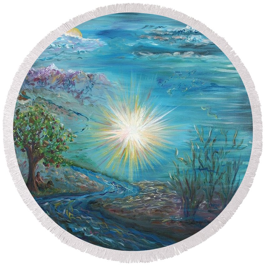 Creation Round Beach Towel featuring the painting Creation by Nadine Rippelmeyer
