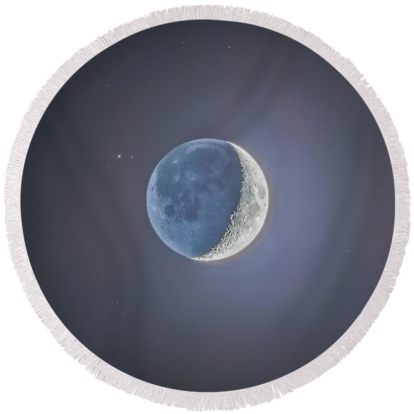 Beta Capricorni Round Beach Towel featuring the photograph Crescent Moon With Earthshine by Alan Dyer