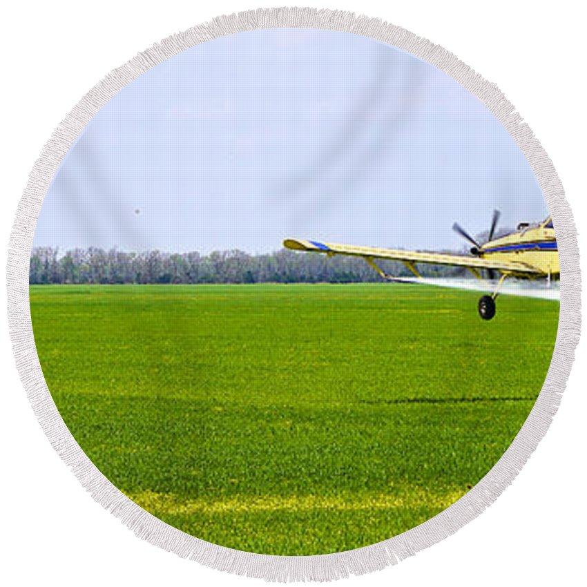 Plane Round Beach Towel featuring the photograph Crop Dusting by Charlie Brock