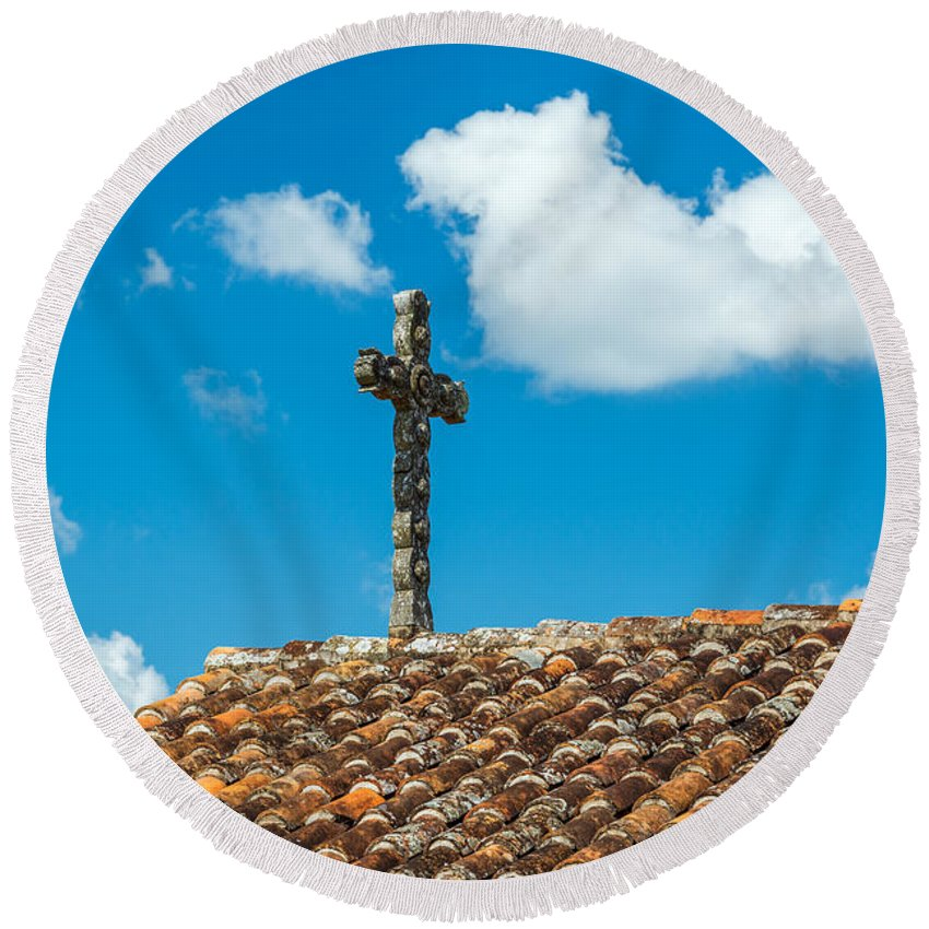 San Javier Round Beach Towel featuring the photograph Cross And Tiled Roof by Jess Kraft