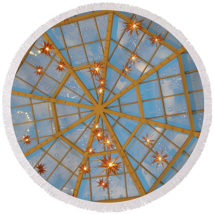 Glass Round Beach Towel featuring the photograph Crystal Web by Maria Bonnier-Perez