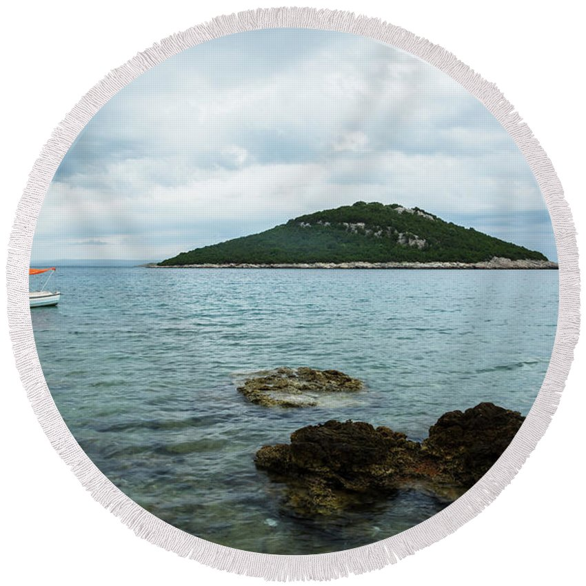 Losinj Round Beach Towel featuring the photograph Cunski Beach And Coastline, Losinj Island, Croatia by Ian Middleton