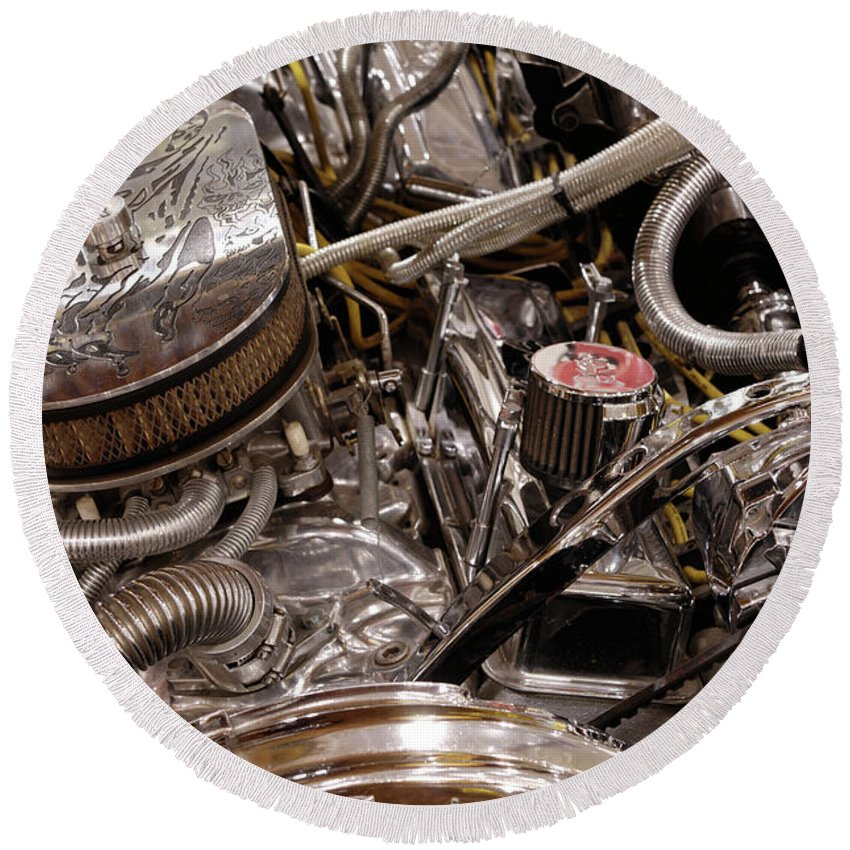Engine Round Beach Towel featuring the photograph Custom Car Chromed Engine by Maxim Images Prints