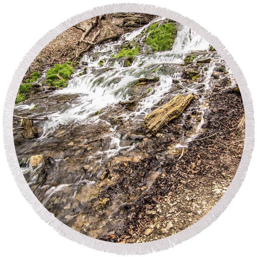 Decorah Round Beach Towel featuring the photograph Decorah Iowa Waterfall by Amel Dizdarevic