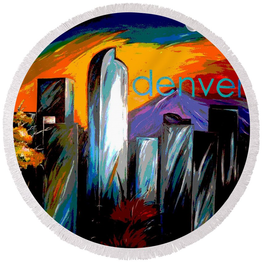Skyline Round Beach Towel featuring the painting Denver Skyline by Jean Habeck