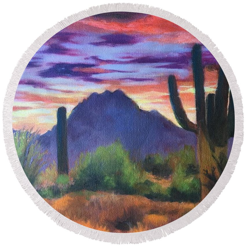 Landscape Round Beach Towel featuring the painting Desert Sunset by Lilo Buppert