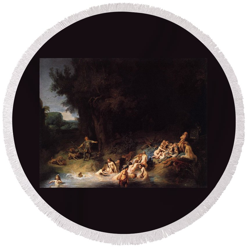 Baroque Round Beach Towel featuring the painting Diana Bathing With Her Nymphs by Rembrandt van Rijn