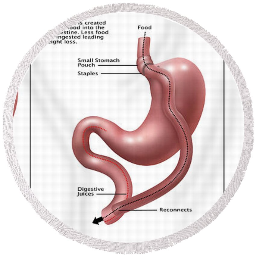 Digestive System Normal Gastric Band Round Beach Towel For Sale By
