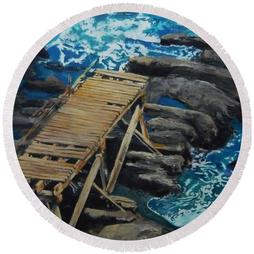 Dock Round Beach Towel featuring the painting Dock by Travis Day