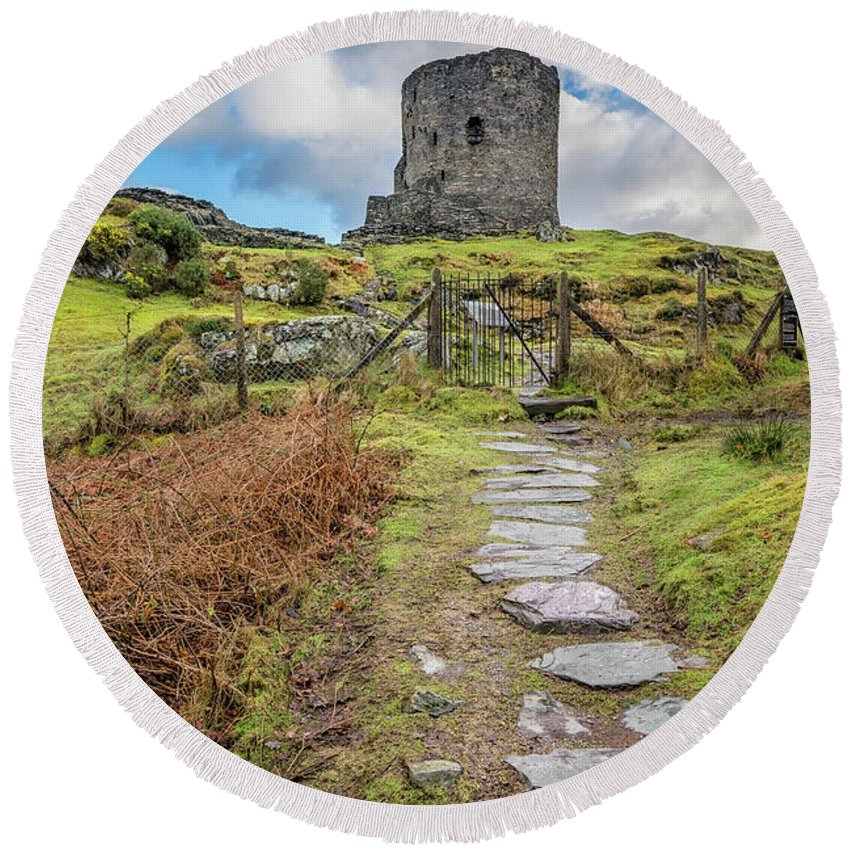 Castle Round Beach Towel featuring the photograph Dolbadarn Castle Snowdonia by Adrian Evans