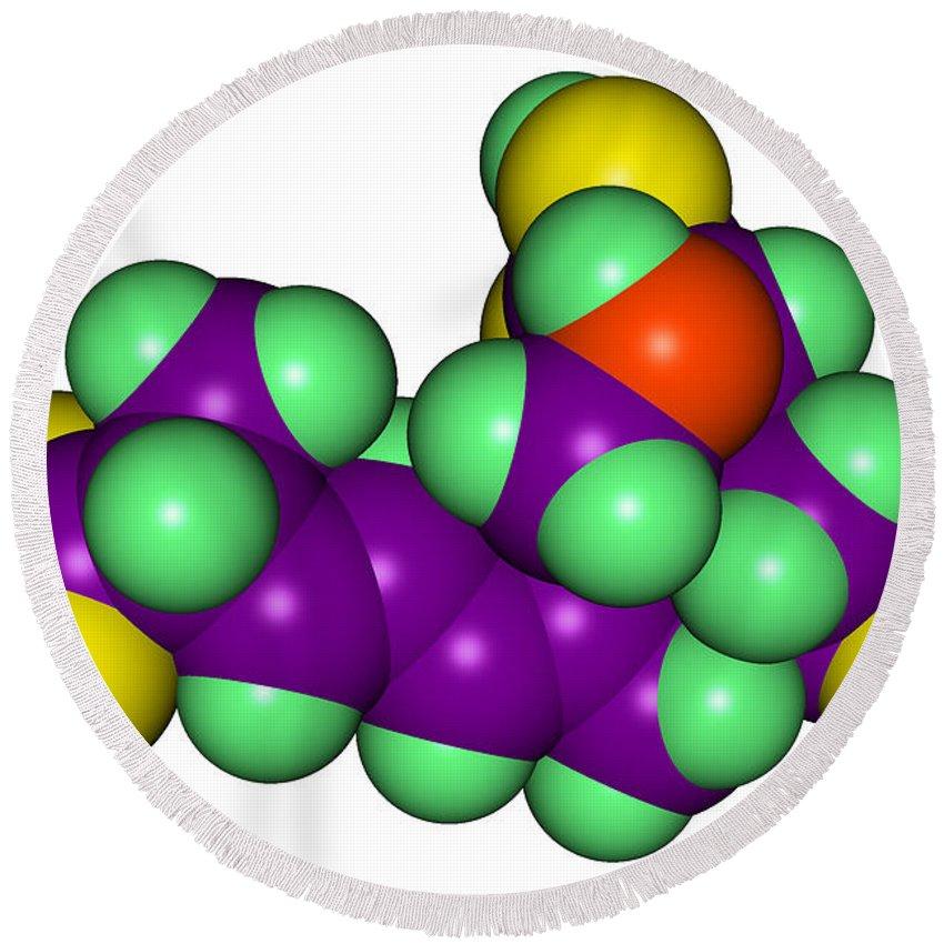 Domoic Acid Round Beach Towel featuring the photograph Domoic Acid Molecular Model by Scimat