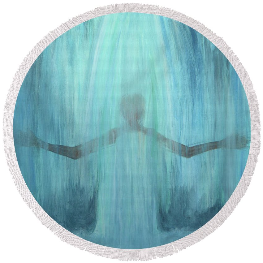 Round Beach Towel featuring the painting Downpour by April Clark