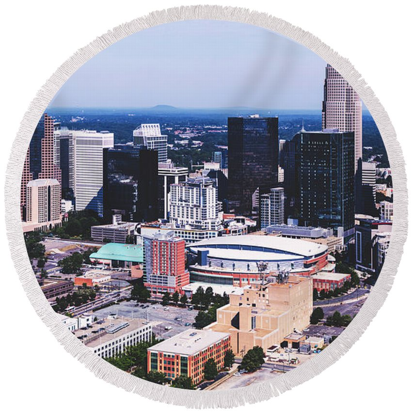 Charlotte Round Beach Towel featuring the photograph Downtown Charlotte by Library Of Congress