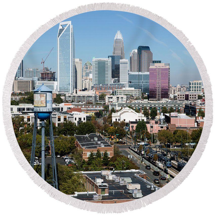 Charlotte Round Beach Towel featuring the photograph Downtown Charlotte North Carolina From The South End by Bill Cobb