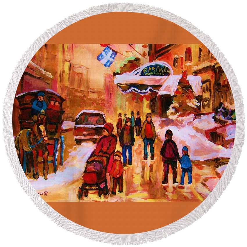 Downtown Montreal Round Beach Towel featuring the painting Downtown Montreal by Carole Spandau