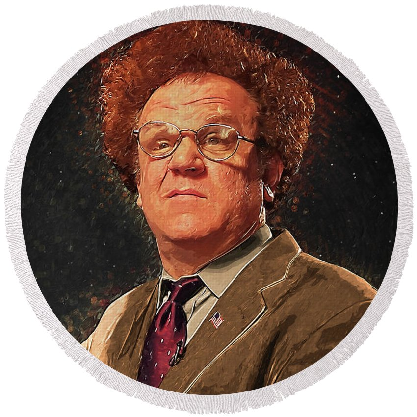 Dr Steve Brule Round Beach Towel featuring the digital art Dr Steve Brule by Zapista OU