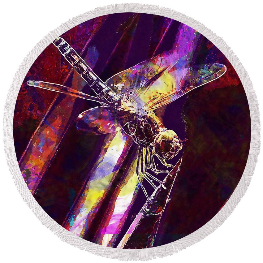 Dragonfly Round Beach Towel featuring the digital art Dragonfly Insect Close by PixBreak Art