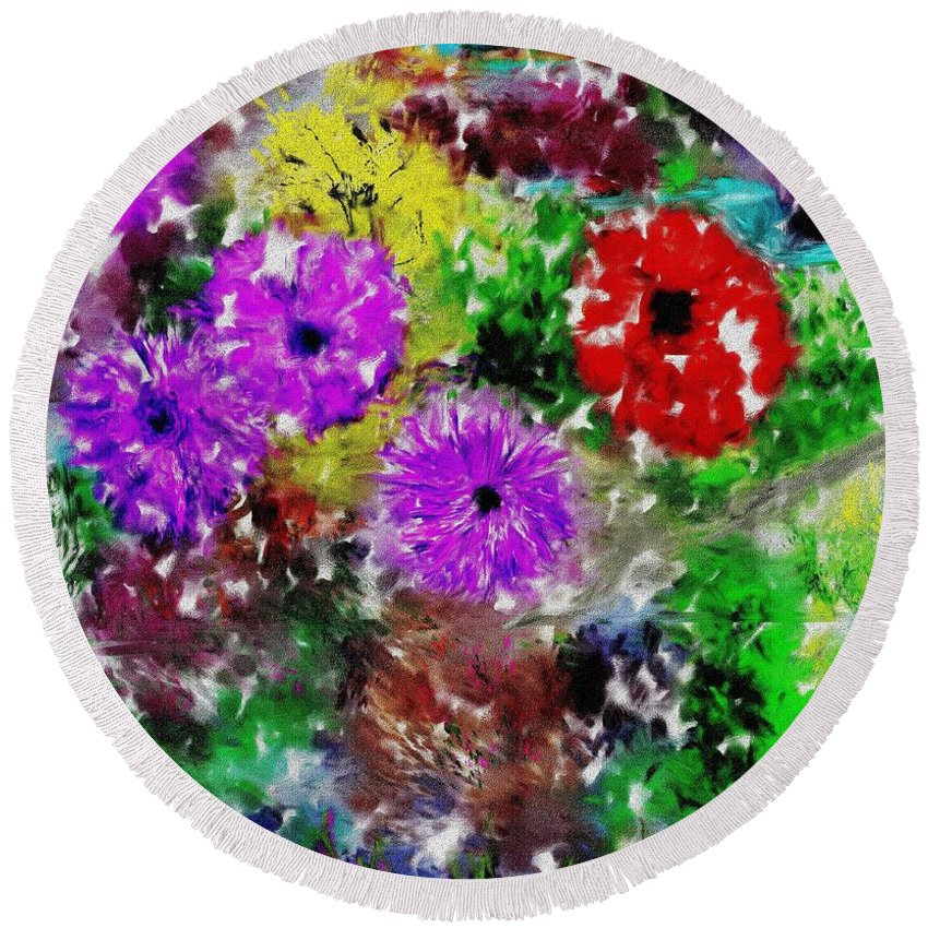 Landscape Round Beach Towel featuring the digital art Dream Garden II by David Lane