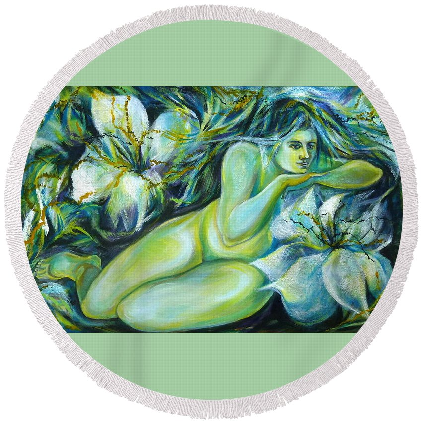 Fantasy Art Round Beach Towel featuring the painting Dreaming Flower by Anna Duyunova