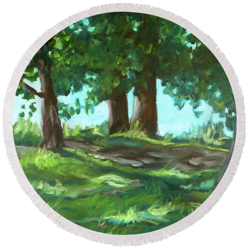 Expressionist Landscape Round Beach Towel featuring the painting Dreaming On Fellows Lake by Jan Bennicoff