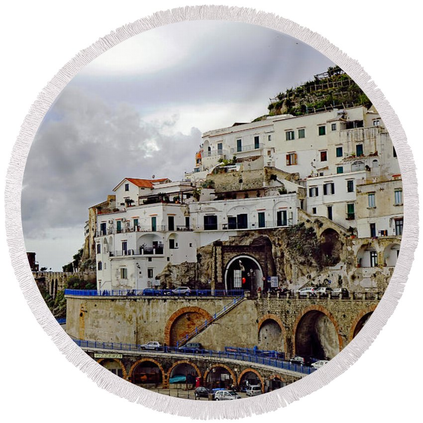 Amalfi Round Beach Towel featuring the photograph Driving The Amalfi Coast In Italy by Richard Rosenshein