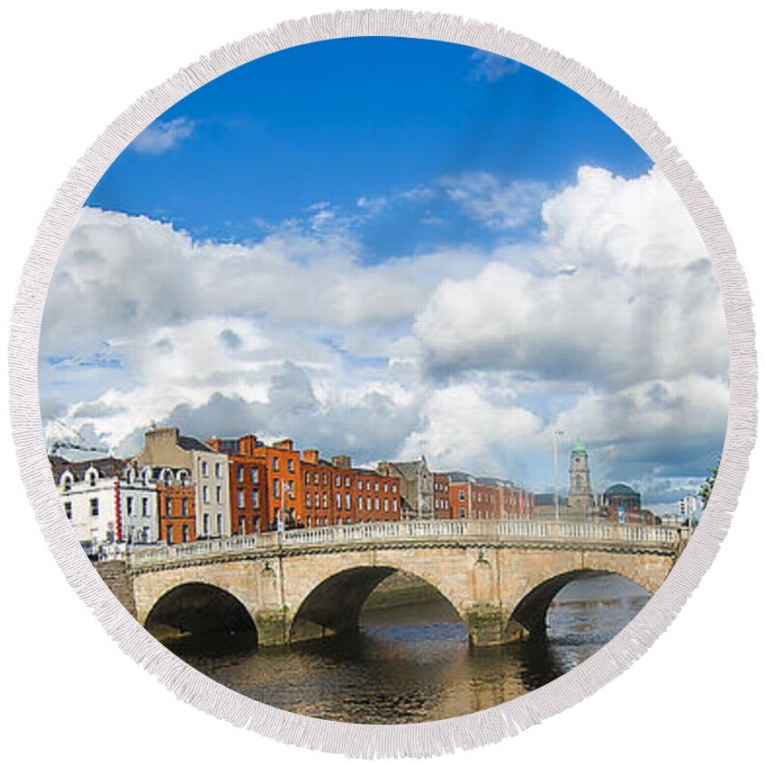 He Four Courts In Reconstruction Round Beach Towel featuring the photograph Dublin's Fairytales Around River Liffey 2 by Alex Art and Photo