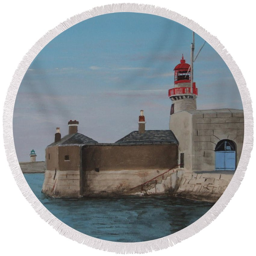 Lighthouse Round Beach Towel featuring the painting Dun Laoghaire Lighthouse by Tony Gunning