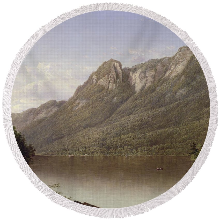 Eagle Cliff Round Beach Towel featuring the painting Eagle Cliff At Franconia Notch In New Hampshire by David Johnson