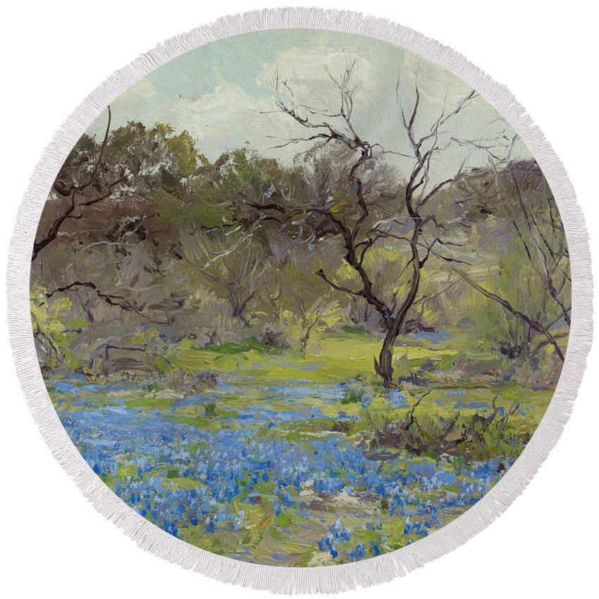 19th Century Art Round Beach Towel featuring the painting Early Spring - Bluebonnets And Mesquite by Julian Onderdonk