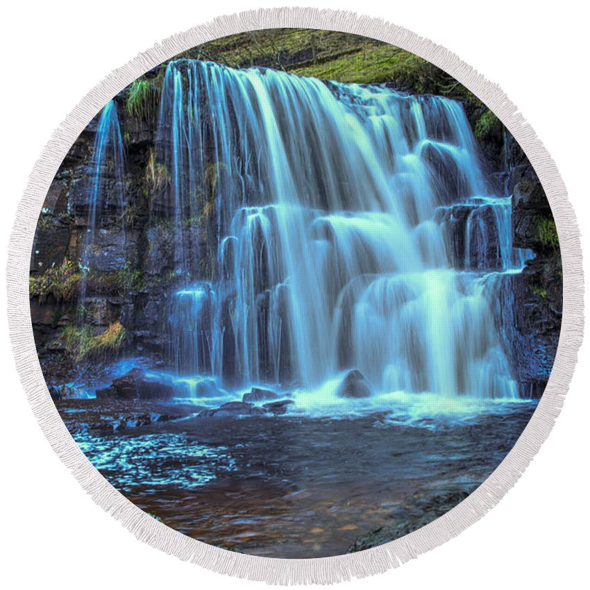 East Gill Force Round Beach Towel featuring the photograph East Gill Force by Smart Aviation