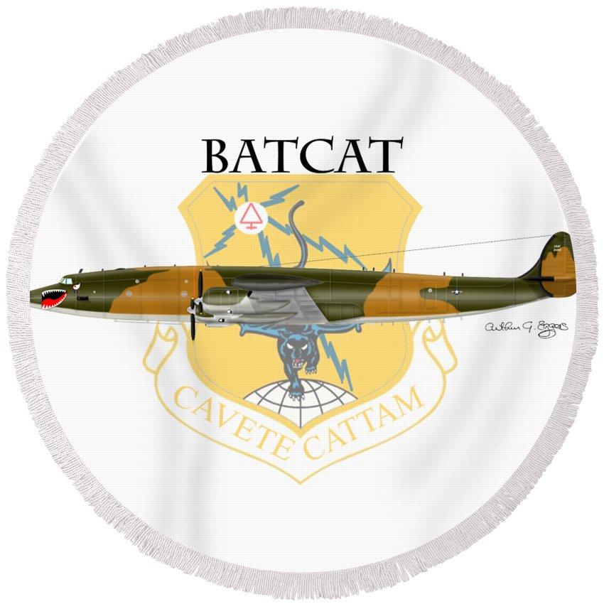 Ec-121r Round Beach Towel featuring the digital art Ec-121r Batcat 6721498 by Arthur Eggers