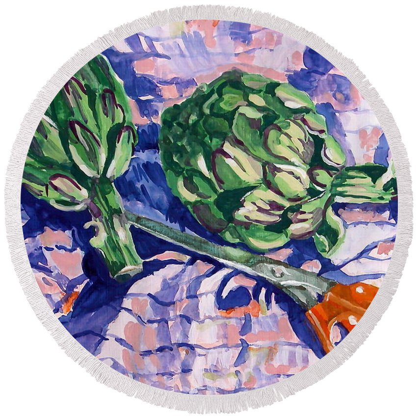 Greens Round Beach Towel featuring the painting Edible Flowers by Jan Bennicoff