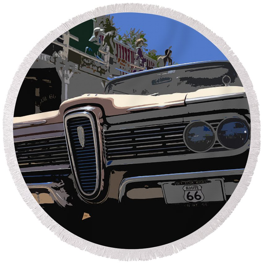 Route 66 Round Beach Towel featuring the painting Edsel On Route 66 by David Lee Thompson