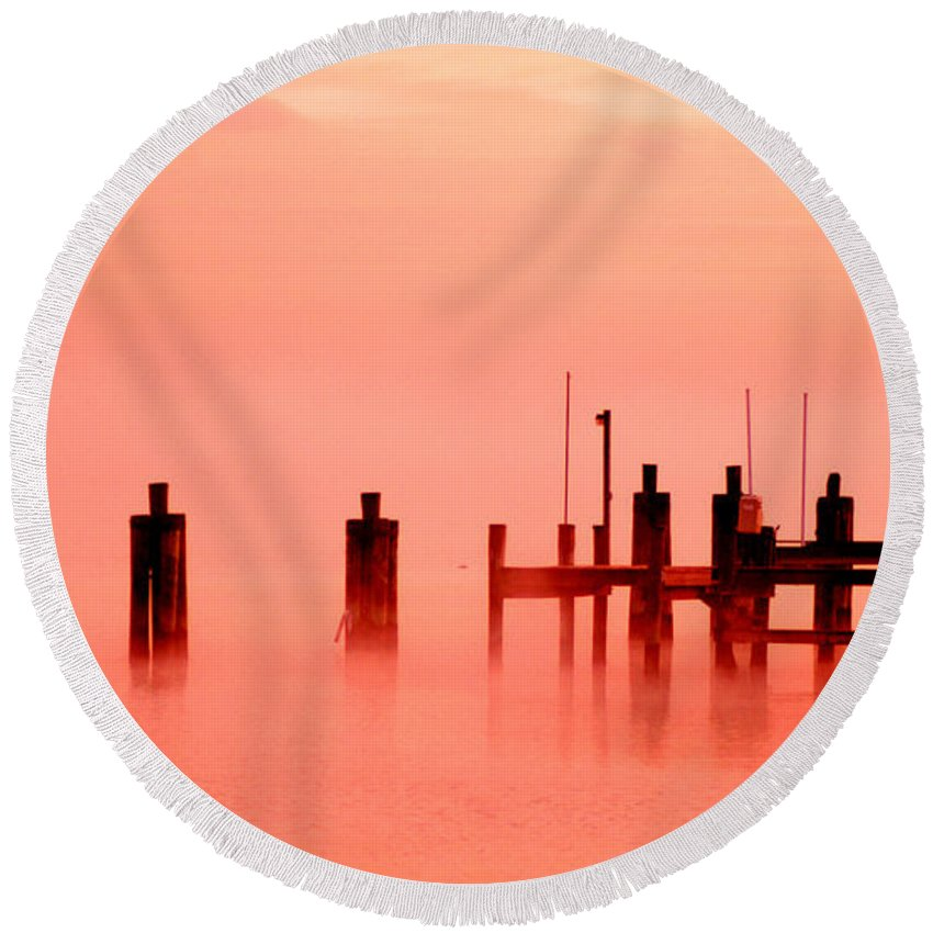 Clay Round Beach Towel featuring the photograph Eery Morn' by Clayton Bruster