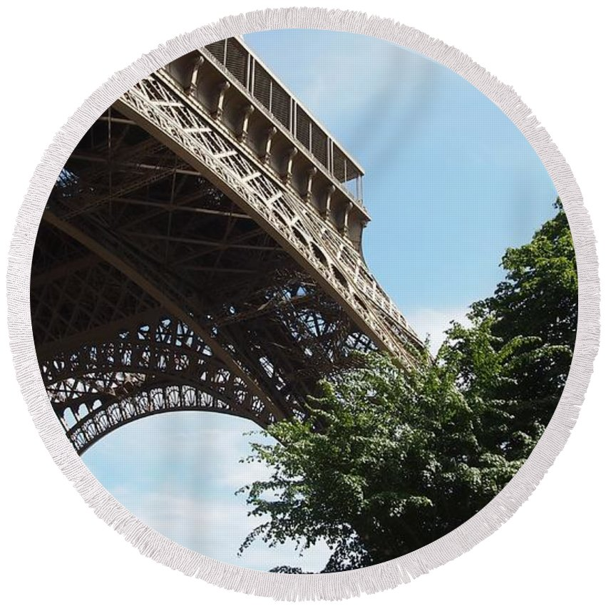 Europe Round Beach Towel featuring the photograph Eiffel Tower by FL collection